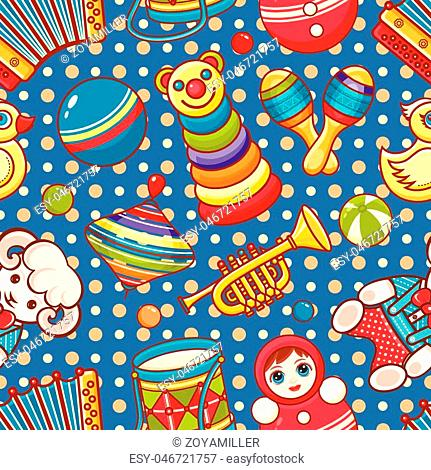 Musical instrument and baby toys. Seamless pattern. Vector ornament. Cartoon style