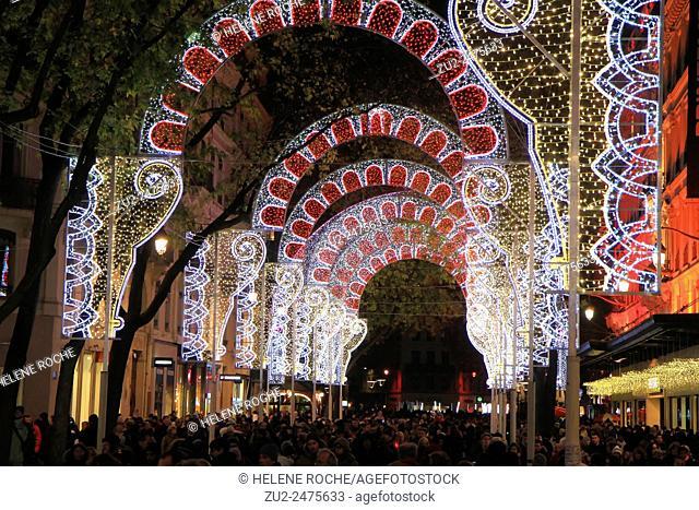 Festival of lights, rue de la Republique, Lyon, France
