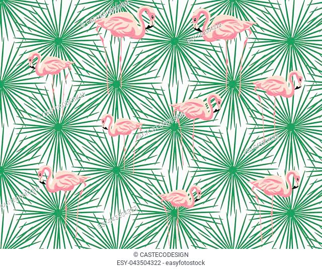 Pink Flamingos and palm leaves pattern. Vector exotic Summer pattern background