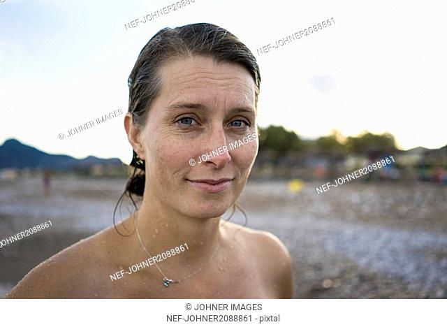 Portrait of woman at beach