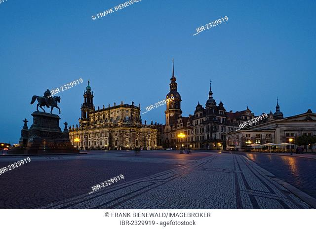The church Hofkirche and Dresden Castle at night, seen from Dresden Opera, the Semperoper. Dresden , Germany