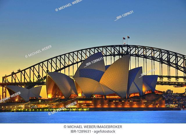 Sydney Opera House, Sydney Harbor Bridge, night, Sydney, New South Wales, Australia