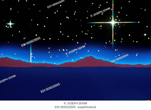 Starry background above a composited purple landscape extending to the horizon