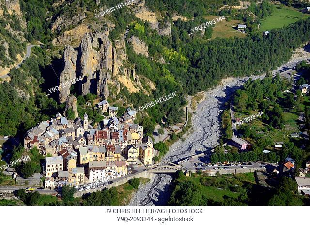 Aerial View of Peone Village Haut-Var Alpes-Maritimes France