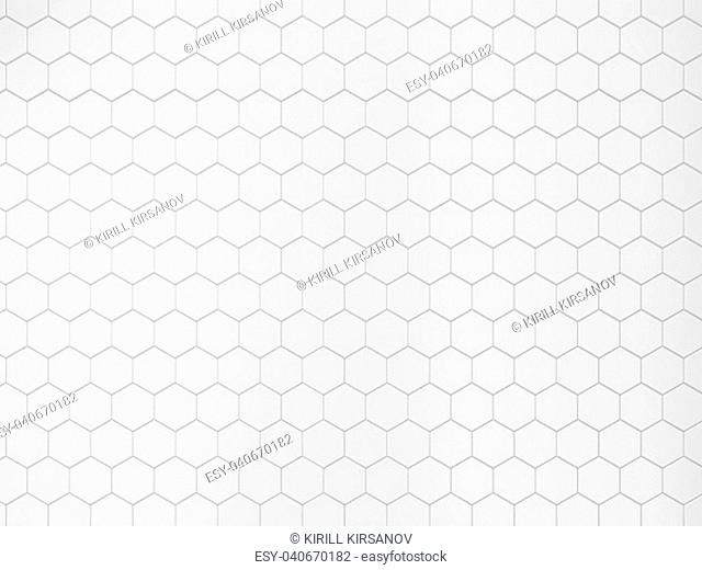White hexagonal tile. 3d background