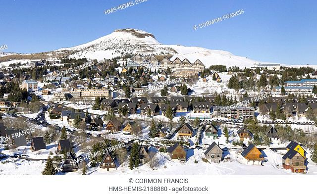 France, Puy de Dome, Besse et Saint Anastaise, Regional Natural Park of the Auvergne Volcanoes, Sancy, Super Besse ski resort