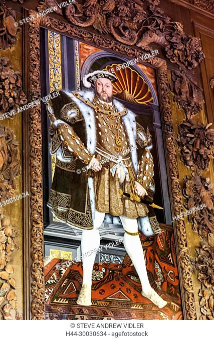 England, West Sussex, Petworth, Petworth House, The Carved Room, Portrait of Henry VIII