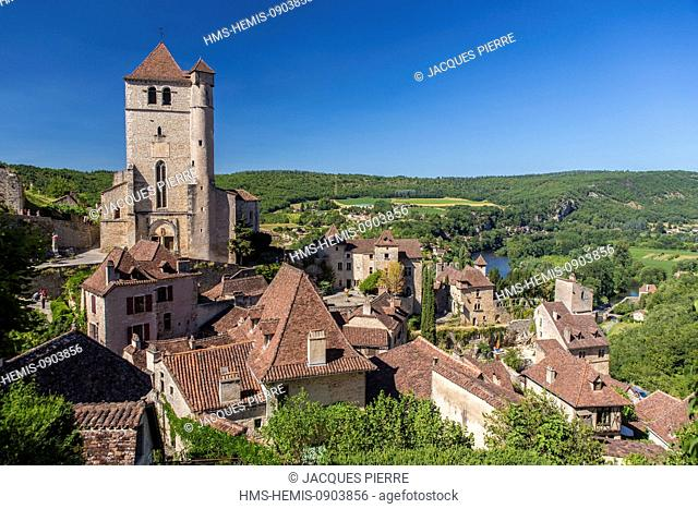 France, Lot, Saint Cirq Lapopie, labelled Les Plus Beaux Villages de France (The Most Beautiful Villages of France), romanic church strengthened of the 15th...