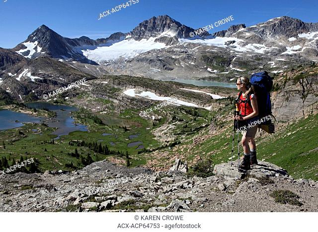 Backpakcer at Limestone Lakes Basin and Russell Peak, Height of the Rockies Provincial Park, British Columbia, Canada