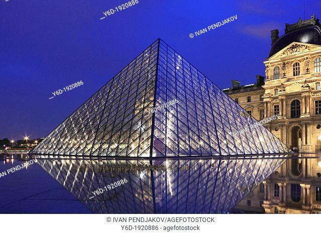 The Louvre Pyramid at Night, Paris, France