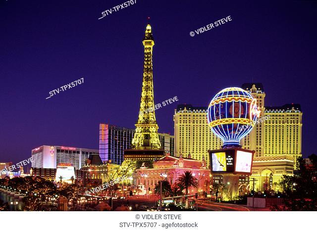 America, Casino, Holiday, Hotel, Landmark, Las, Las vegas, Nevada, Night, Paris, Tourism, Travel, United states, USA, Vacation