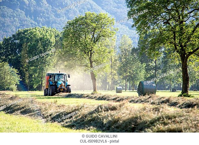 Tractor harvesting in field
