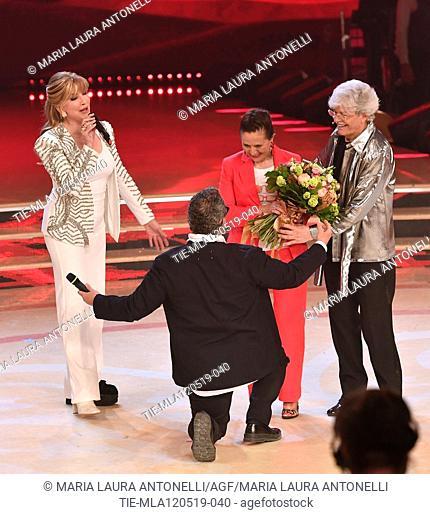 Milly Carlucci, Guillermo Mariotto, Maria Jesus Fernandez wife of Antonio Razzi, Antonio Razzi at the tv show Ballando con le setelle (Dancing with the stars)...
