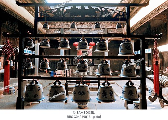 View of bells arranged on stand, Ceramic display, Ancient kiln museum, Jingde town, Jiangxi Province of People's Republic of China