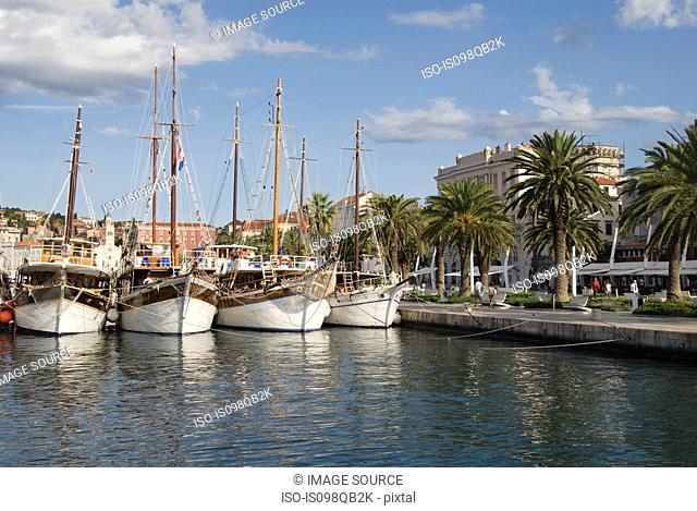 Boats in split harbour croatia