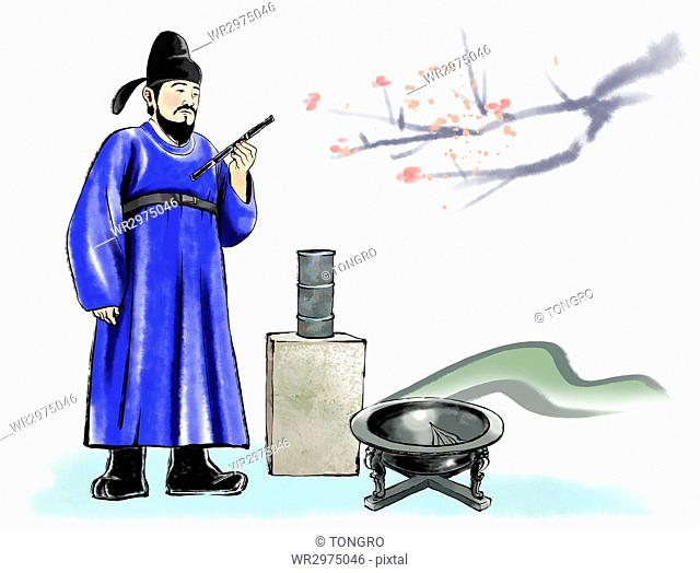 Illustration of Korean inventor and his invention, sundial