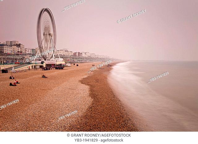 Brighton Beach in Winter, Brighton, Sussex, England