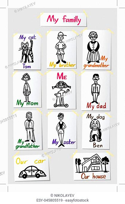 Family relations and values. A set of characters of the family members. Children s drawings on paper with inscriptions. Vector illustration