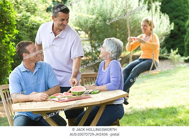 Two mature couples in a lawn