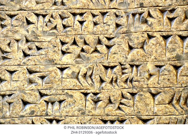 Old Assyrian Cuneiform writing on a stone panel from Nimrud, North West Palace, (c865-860BC) British Museum, Bloomsbury, London, England, UK