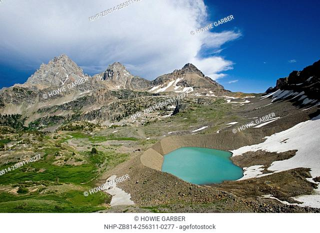 View of Glacial Lake, Teton Crest Trail, with Grand, Middle, & South Tetons in background from Hurricane Pass & Schoolroom Glacier, Grand Teton National Park