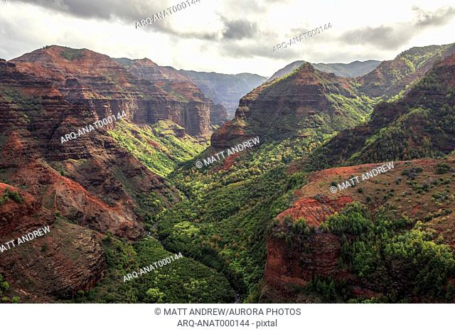 Mountains At Waimea Canyon State Park In Hawaiian Island Of Kauai