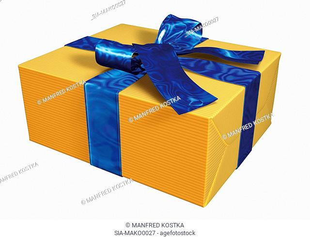 Yellow present with blue ribbon
