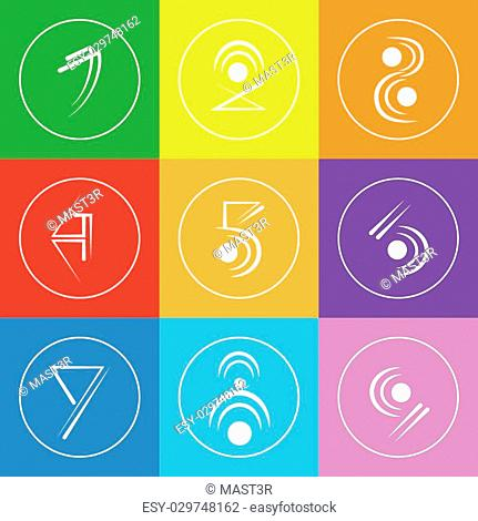 Abstract Logo Icons Set Thin Line Simple Colorful Collection Minimalistic Style Web Logotypes