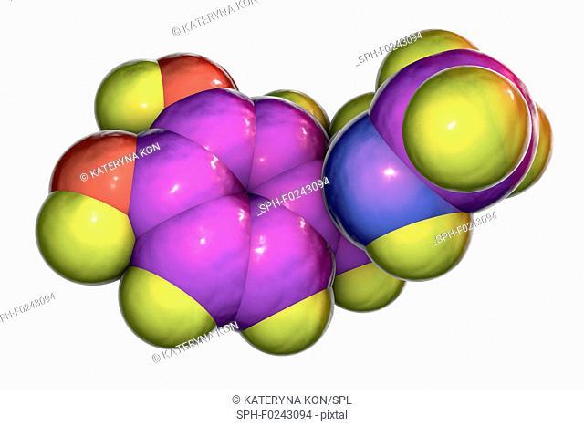 Adrenaline, molecular model