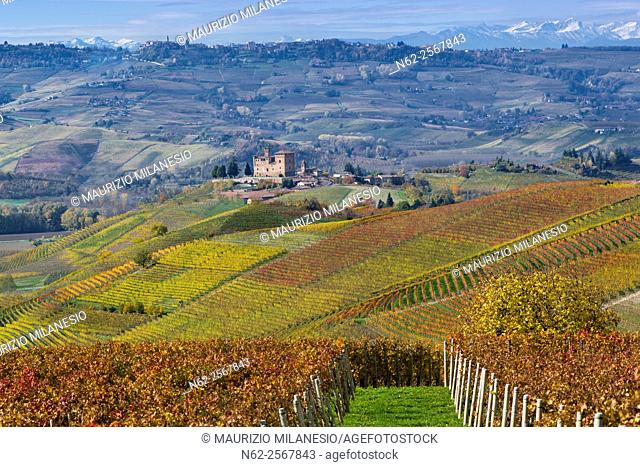 Autumnal view of the Castle of Grinzane Cavour Unesco heritage in the territory of the Langhe Piedmont Italy