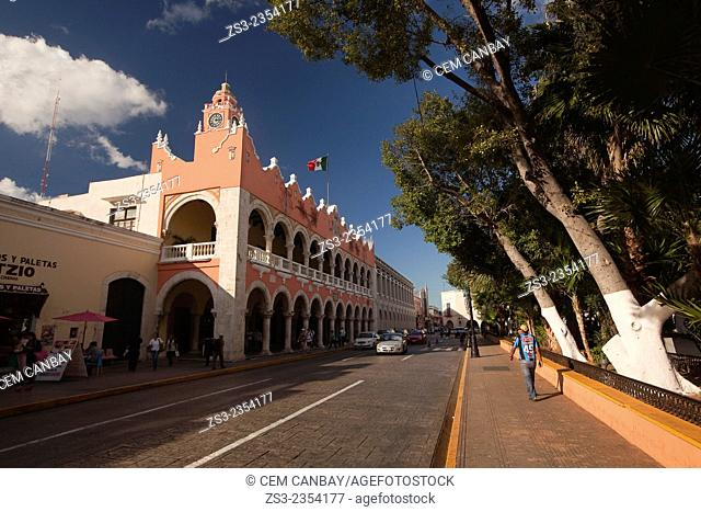 Palacio Municipal and Ayuntamiento-Town Hall in Zocalo at the historic center, Merida, Yucatan Province, Mexico, Central America