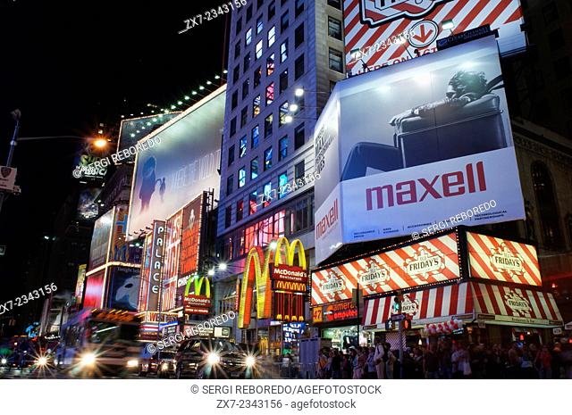 Times Square. 1560 Broadway, between 46th and 47th Street. Nearly thirty million visitors a year pass through this area of Manhattan, and most do so at night