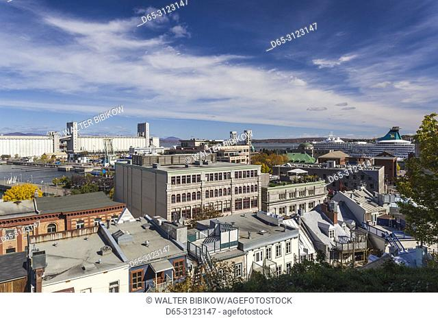 Canada, Quebec, Quebec City, view of the Lower Town from Rue des Remparts