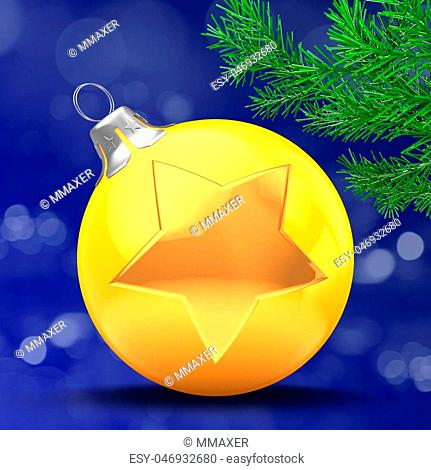 3d illustration of orange Christmass ball over bokeh blue background with golden star and christmas tree branch