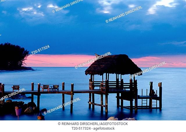 Beach of Bahamas, Nassau. Dawn. Caribbean Sea, New Providence. Bahamas