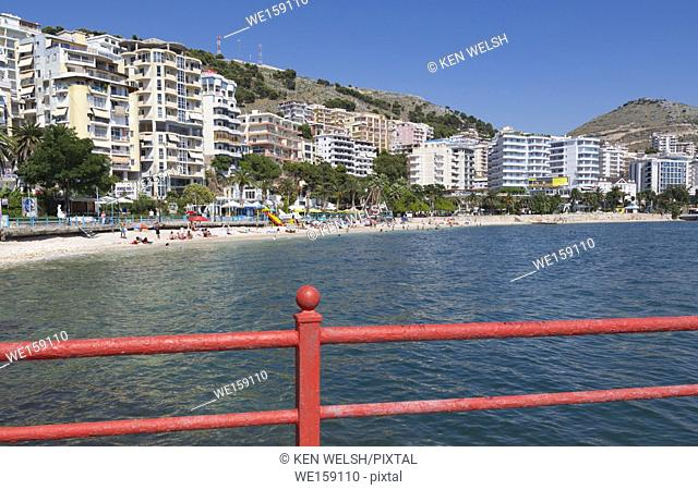 Sarande or Saranda, Sarande District, Albania. View along main resort beach