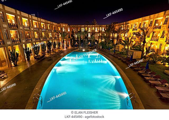 Outdoor pool at Sofitel Hotel at night, Essaouira, Morocco