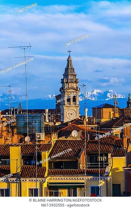 Church tower of Santa Maria Formosa church, Venice, Italy