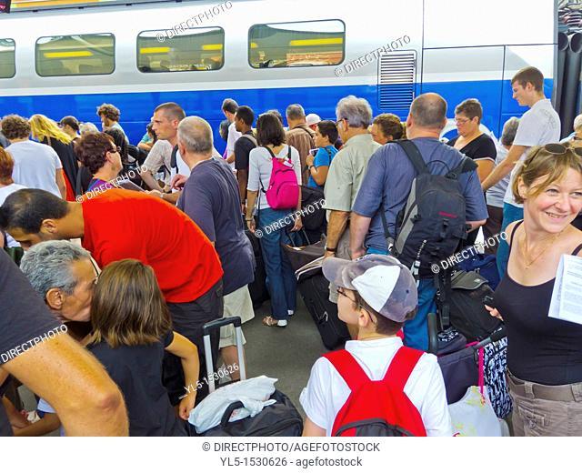 Paris, France, Crowd Tourists Boarding TGV Bullet Train, in Gare de Lyon Train Station