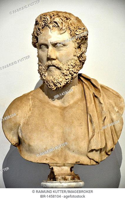 Ancient marble bust of a philosopher, Museo Palatino, Palatino, Rome, Lazio, Italy, Europe