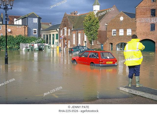 Flooded car park in town centre in October 2000, Lewes, East Sussex, England, United Kingdom, Europe