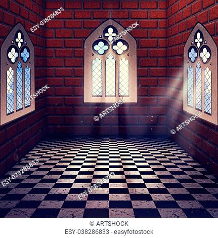 Illustration of an abstract grunge interior with gothic window