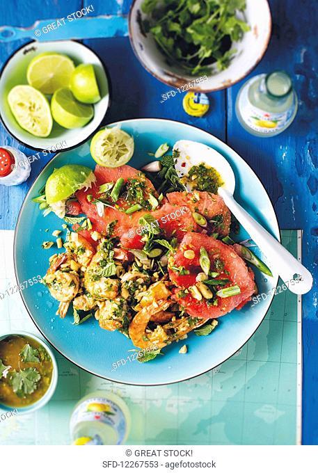 Watermelon and prawn salad