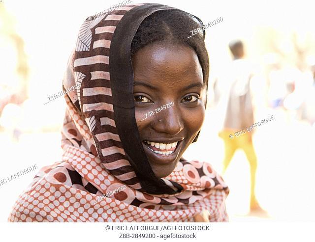 Portrait of a smiling Borana tribe young woman, Oromia, Yabelo, Ethiopia