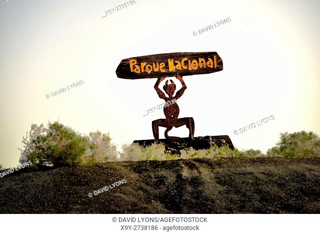 Statue of El Diablo by artist Cesar Manrique. Lanzarote, Canary Islands. Symbol of Timanfaya National Park volcanic landscape