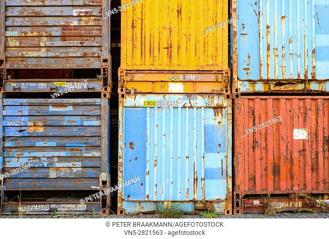 Abandoned rusty truck containers in the port of Antwerp