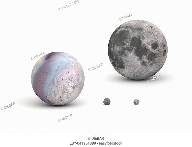 This image represents the size comparison between main Neptune moons and Earth moon in a precise scientific design. This is a 3D rendering