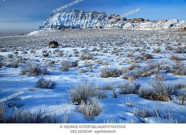Winter high desert in Fort Rock basin, Fort Rock State Park, Christmas Valley National Back Country Byway, Oregon