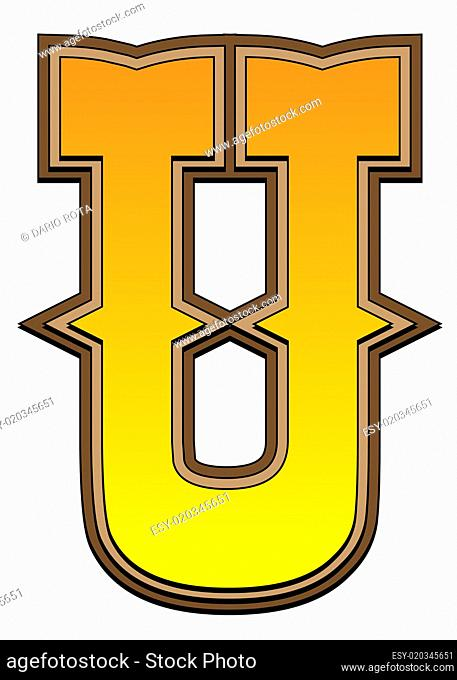 Western alphabet letter - U