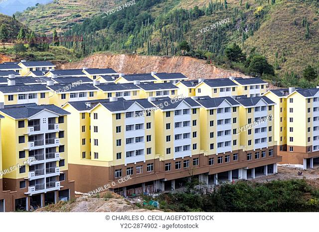Guizhou, China. New Urban Growth. New Apartment Buildings between Zhenyuan and Kaili